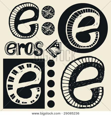 scribble alphabet, crazy doodle E