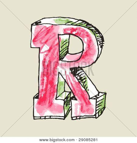 Farbstift Alphabet, hand gezeichneten Buchstaben r
