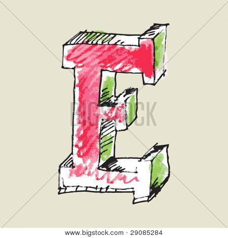 crayon alphabet, hand drawn letter E