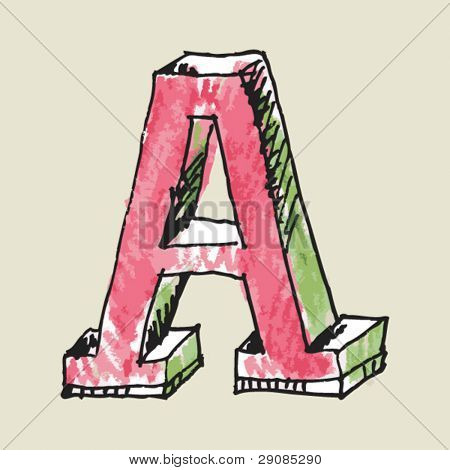 crayon alphabet, hand drawn letter A