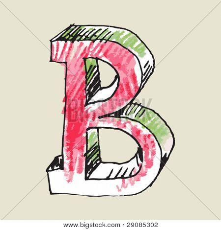 crayon alphabet, hand drawn letter B