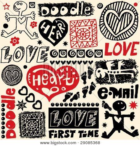elementos de diseño hechos a mano, locos doodle conjunto