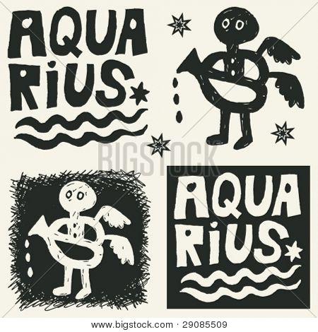 naive abstract horoscope, hand drawn sign of the zodiac aquarius