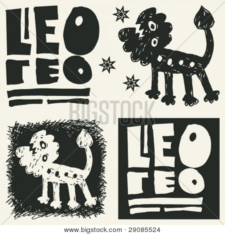 naive abstract horoscope, hand drawn sign of the zodiac leo