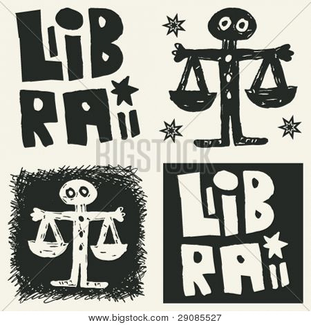 naive abstract horoscope, hand drawn sign of the zodiac libra