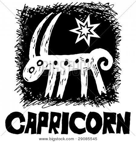 mão desenhada do signo que Capricórnio isolado no fundo branco