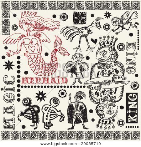 magic doodle set, hand drawn design elements