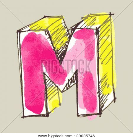 childlike gouache alphabet, hand drawn letter M