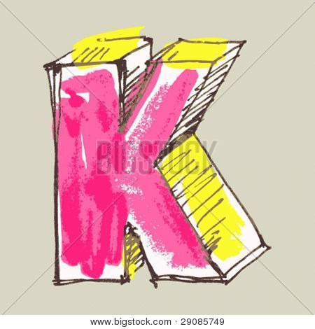 childlike gouache alphabet, hand drawn letter K