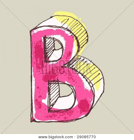 childlike gouache alphabet, hand drawn letter B