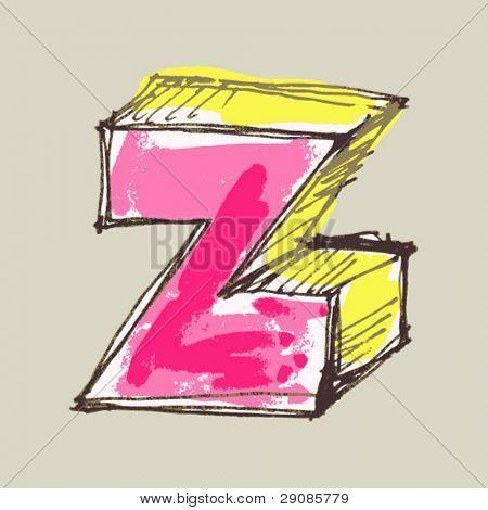 childlike gouache alphabet, hand drawn letter Z