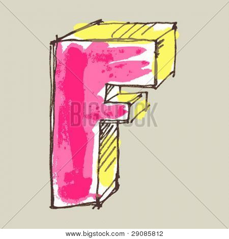 childlike gouache alphabet, hand drawn letter F