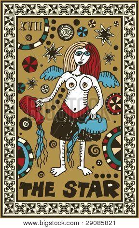 hand drawn tarot deck, major arcana, the star
