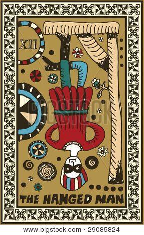 hand drawn tarot deck, major arcana, the hanged man