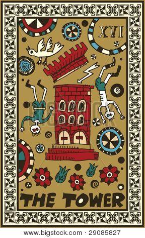 hand drawn tarot deck, major arcana, the tower