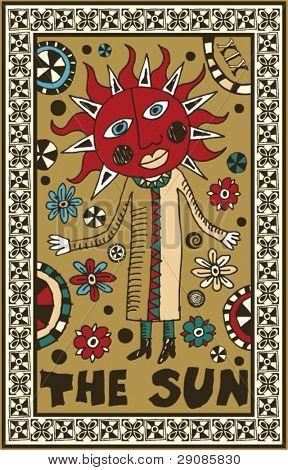 mano cubierta dibujada tarot, arcanos mayores, el sol