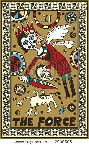 hand drawn tarot deck, major arcana, the force