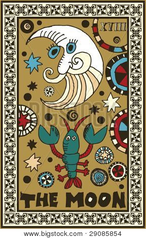 hand drawn tarot deck, major arcana, the moon