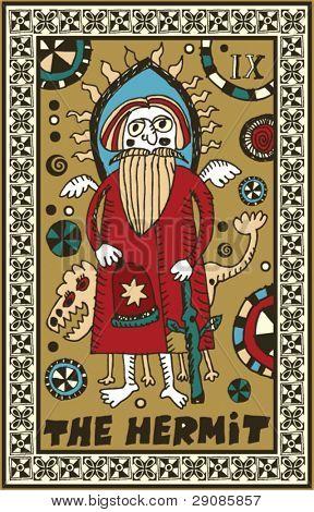 hand drawn tarot deck, major arcana, the hermit