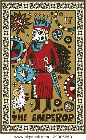 hand drawn tarot deck, major arcana, the emperor
