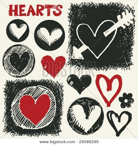 sketchy hearts, hand drawn design elements