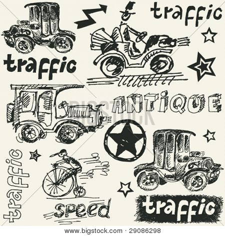 hand drawn traffic doodles, sketchy retro  transportation