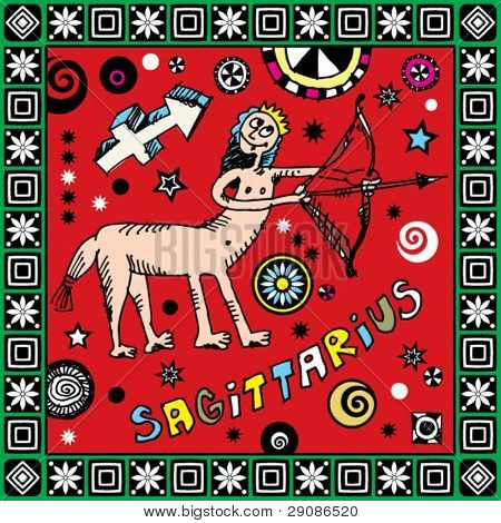 naive hand drawn horoscope, doodle sign of the zodiac sagittarius
