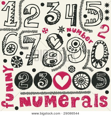hand drawn numerals, funny doodles