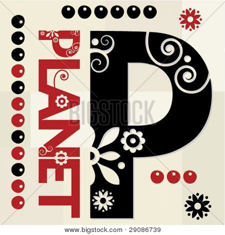 floral ABC, ornamental letter P