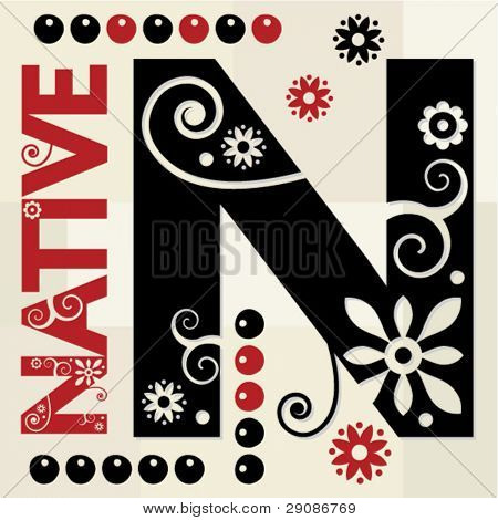 floral ABC, ornamental letter N