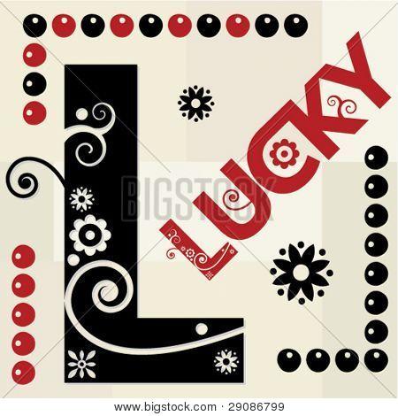floral ABC, ornamental letter L