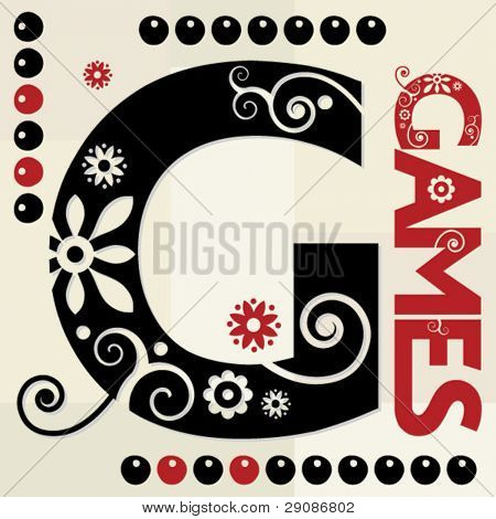 floral ABC, ornamental letter G