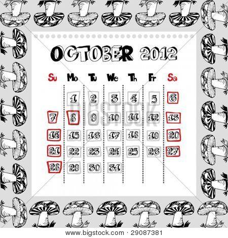 doodle calendar for year 2012, October