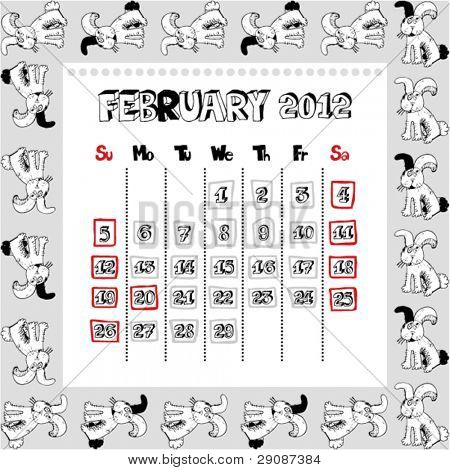 doodle calendar for year 2012, February