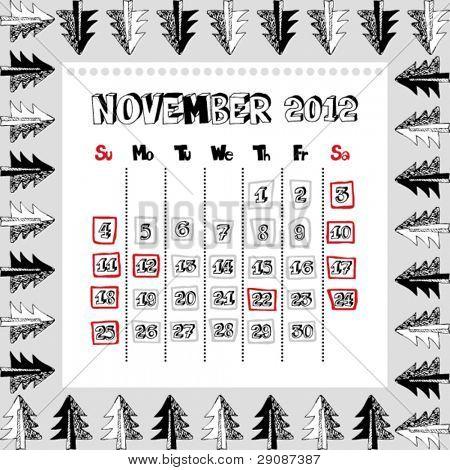 doodle calendar for year 2012, November