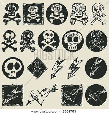 dangerous sketchy icons, hand drawn design elements