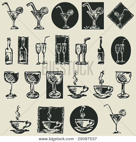 sketchy drink icons, hand drawn design elements