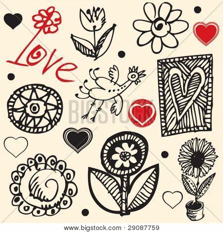 Crazy love garabatos, elementos de diseño dibujado a mano