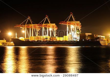 Cargo container ship in port at night
