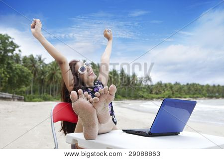 Businesswoman Enjoying Beautiful Beach