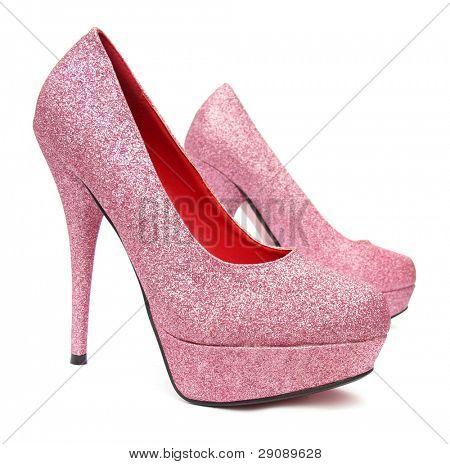 Pink high heels pump shoes