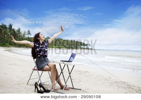 Happy Businesswoman Working Outdoor