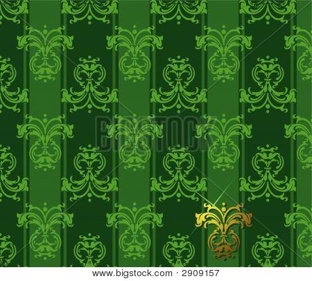 Green Floral Patten. Vector Illustration.