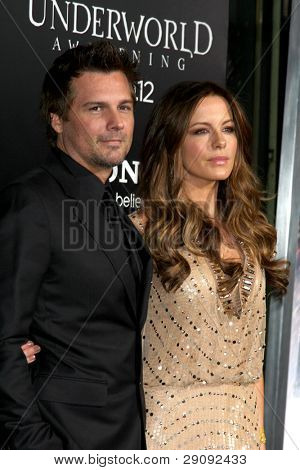 """LOS ANGELES - JAN 19:  Len Wiseman, Kate Beckinsale. arrives at  the """"Underworld Awakening"""" Los Angeles Premiere at Graumans Chinese Theater on January 19, 2012 in Los Angeles, CA"""