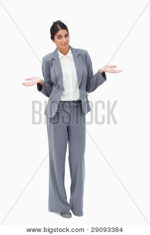 Saleswoman being clueless against a white background