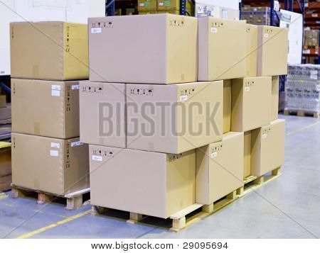 Carton Boxes In Storage Warehouse