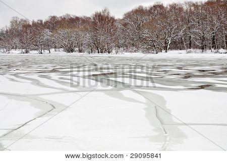 Unfrozen Patch Of Water In  Icebound River