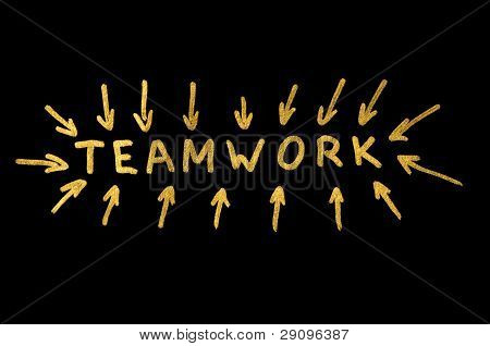 Teamwork Text And Strokes Over Black