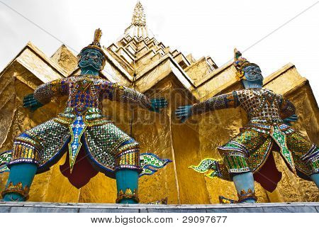 Giant Guardians On Base Of Pagoda