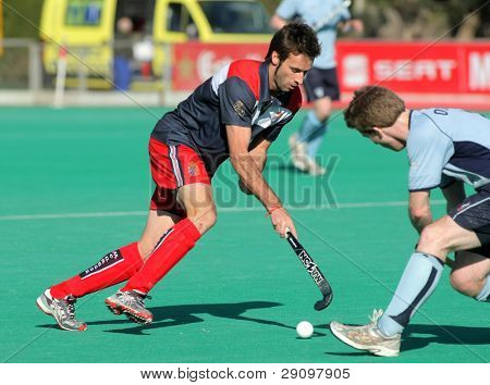 BARCELONA - JAN, 7: David Alegre of RC de Polo of RC Polo during a King's Trophy against Monkstown HC match at the RC de Polo pitch on January 7, 2012 in Barcelona, Spain